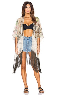 Queen & Pawn Ibiza Metallic Lace Fringe Kaftan in Black & Gold Multi