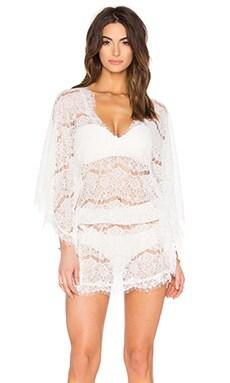Mykonos Lace Short Kaftan en Blanc