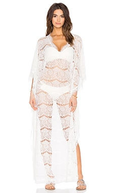 Queen & Pawn Sicily Lace Long Kaftan in White