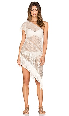 Queen & Pawn One Shoulder Lace Dress in Light Gold
