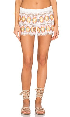 Queen & Pawn Kea Embroidered Short in Orange