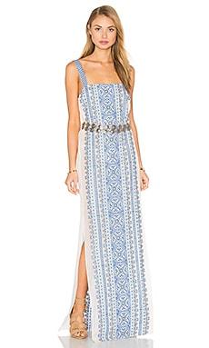 Queen & Pawn Yalta Silk Maxi Dress in Blue