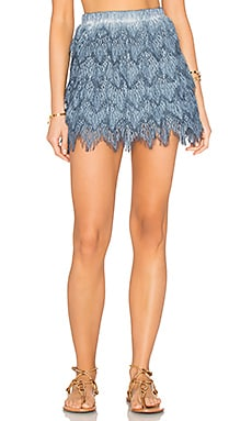 Queen & Pawn Symi Lace Skirt in Indigo