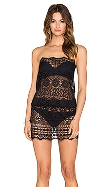 Queen & Pawn Olympia Strapless Lace Dress in Black