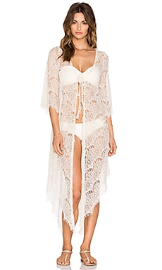 Queen & Pawn Lace Cover Up in Ivory