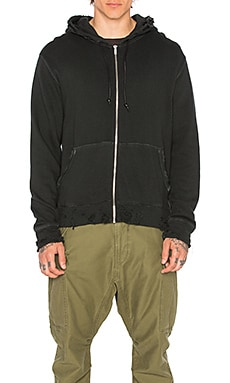 R13 Vintage Zip Up Hoodie in Washed Black