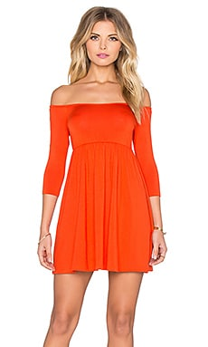 x REVOLVE Off The Shoulder Empire Dress in Caliente