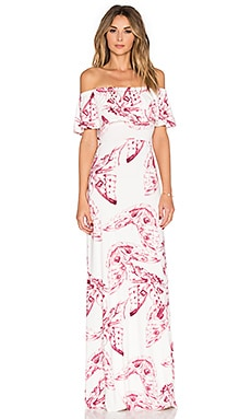 Reston Maxi Dress in Vino Mariposa