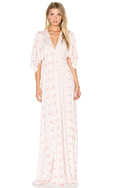 Long Caftan Dress in Dusty Medallion