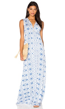 Long Sleeveless Caftan Dress in Delta Medallion