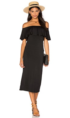 Ruffle Midi Dress in Black