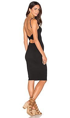Twist Back Bodycon Dress in Black