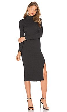 Turtleneck Dress in Anthrazit gerippt