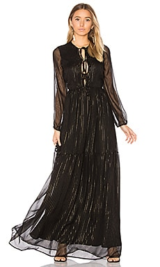 Olesya Dress in Black & Gold Silk