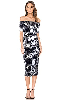 Jagger Midi Dress in Indigo Ikat