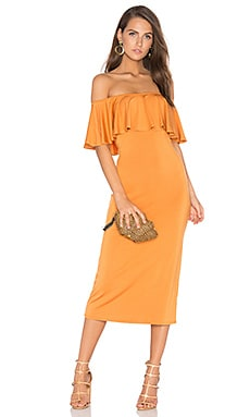 Ruffle Midi Dress in Flan