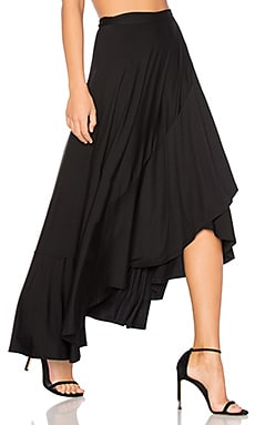 Ruffle Wrap Skirt in Black