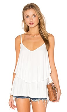 EXCLUSIVE Rib Ruffle Top en Blanc