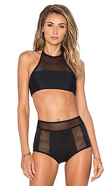 Rachel Pally Mesh Coronado Bikini Top in Black