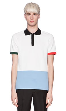 Fred Perry x Raf Simons Colour Bloc Fred Perry Shirt in White