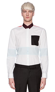 Fred Perry x Raf Simons L/S Cut and Sew Shirt in White