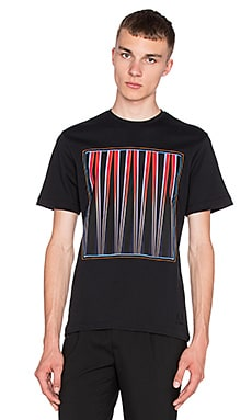 Fred Perry x Raf Simons Printed Patch Tee in Soho Black
