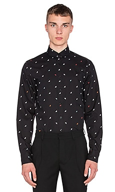 Fred Perry x Raf Simons Long Sleeve Printed Shirt in Soho Black