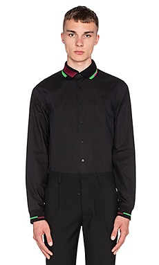 Fred Perry x Raf Simons Long Sleeve Ribbed Collar and Cuff Shirt in Soho Black