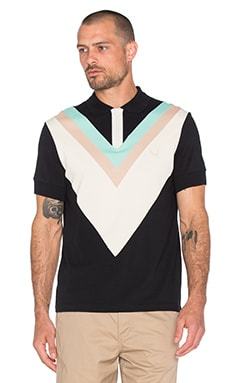 Fred Perry x Raf Simons Wide Chevron Pique Polo in Black