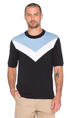 Fred Perry x Raf Simons Chevron Insert T Shirt in Black
