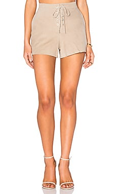 Lace Up Short in Stone Suede