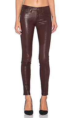 rag & bone/JEAN The Leather Skinny in Washed Burgundy