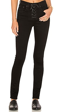 Lace Up High Rise Skinny in Black Coal