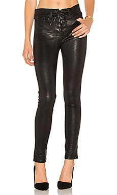 High Rise Leather Pant in Washed Black