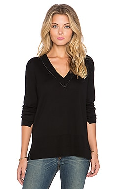 rag & bone/JEAN Leanna V Neck Sweater in Black