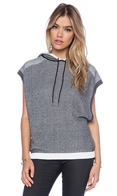 rag & bone/JEAN Brenda Sleeveless Hoodie in Black & White