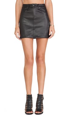 Mini Skirt in Black Leather