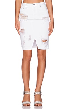 rag & bone/JEAN Denim Skirt in Shredded White