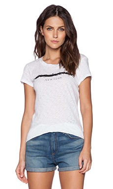 rag & bone/JEAN Distressed Classic Tee in Bright White