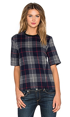 rag & bone/JEAN Austin Top in Charcoal Plaid