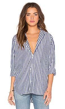 Boyfriend Button Up in Navy White Stripe