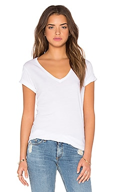V Neck Tee in Bright White