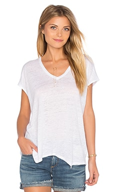 Malibu V Neck Tee in Bright White