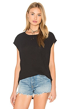 Highland Drape Back Tee in Black