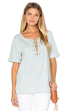 rag & bone/JEAN Lace Up Top in Bleach Out