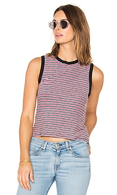Racer Tank in Stripe & Navy