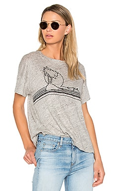 Palm Embroidery Tee en Gris Chiné