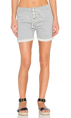 Lace Up Short in Light Grey Melange
