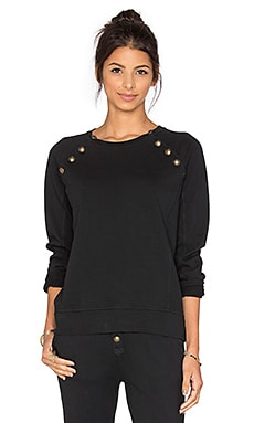 Sweatshirt with Brass Buttons en Noir Délavé
