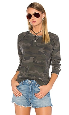 Distressed Camo Sweatshirt in Faded Army
